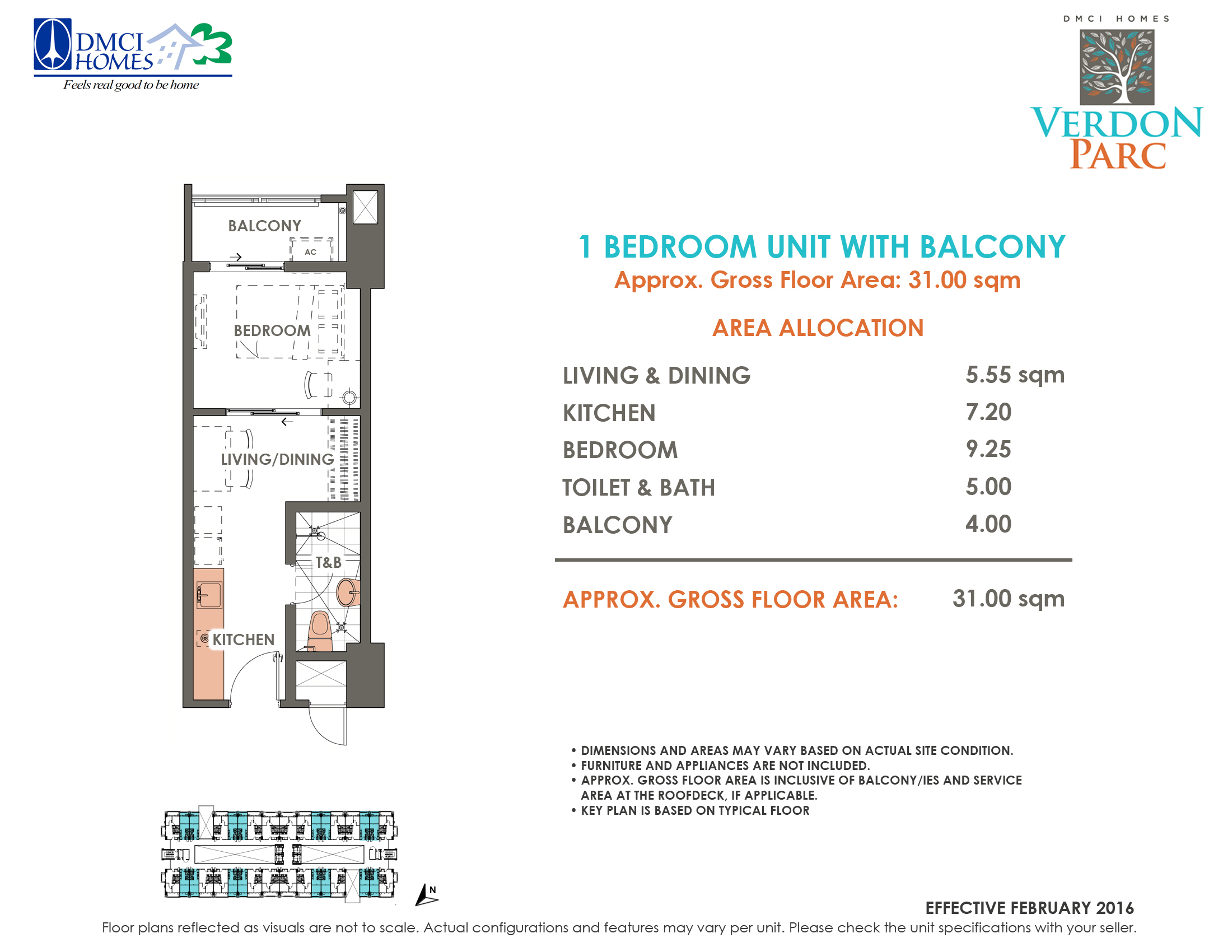 Belvedere 1 Bedroom Inner Unit A with Balcony