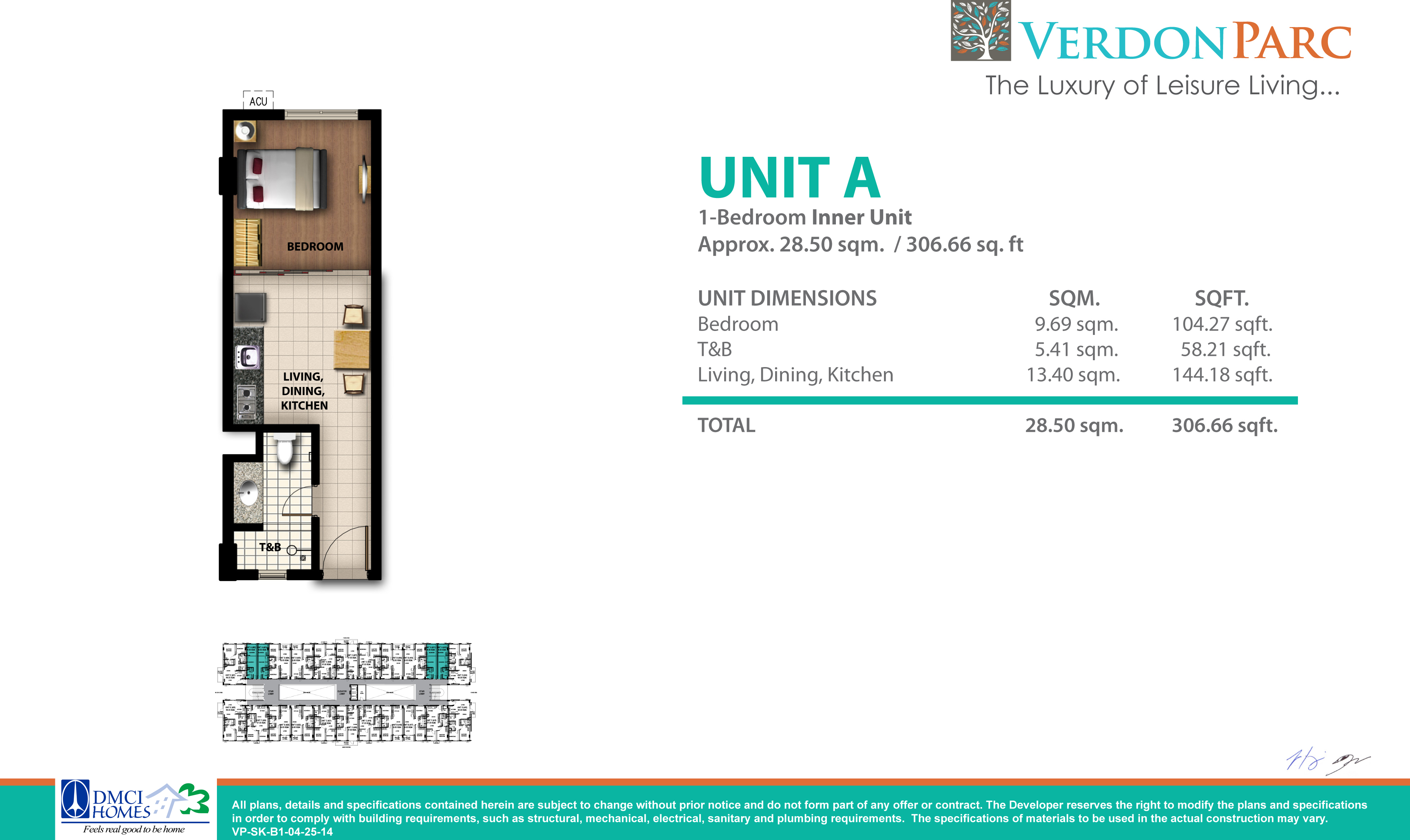 Martel 1 Bedroom Inner Unit A with Balcony